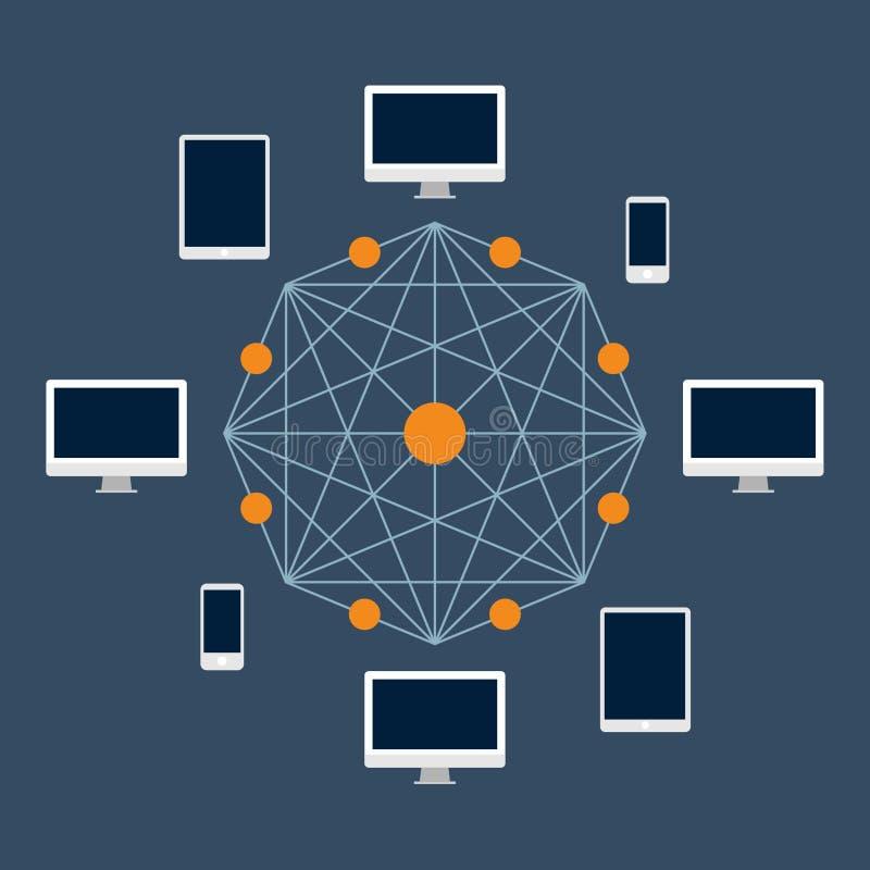 Tecnologia de Blockchain Cryptocurrency e transferência de dinheiro de um usuário ao outro e à validação da rede imagens de stock royalty free