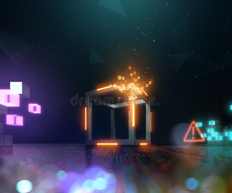 Tecnologia de Blockchain, dispersão do bloco em cubos pequenos ilustração stock