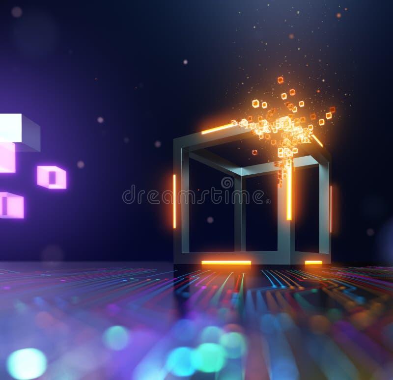 Tecnologia de Blockchain, dispersão do bloco em cubos pequenos ilustração royalty free