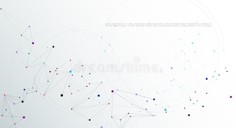 Tecnologia de comunicação da rede do projeto do vetor no fundo cinzento branco da cor Conceito digital futurista da tecnologia da ilustração stock