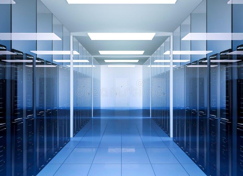 Tecnologia de comunicação da rede e do Internet no interior da sala do servidor do centro de dados ilustração royalty free