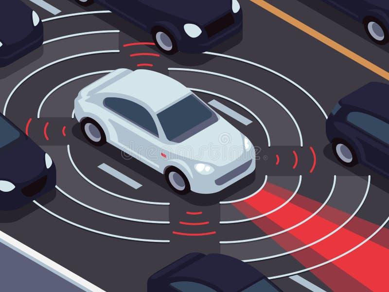 Tecnologia de condução autônoma do veículo Conceito do vetor do assistente do carro e do sistema de vigilância do tráfego ilustração stock