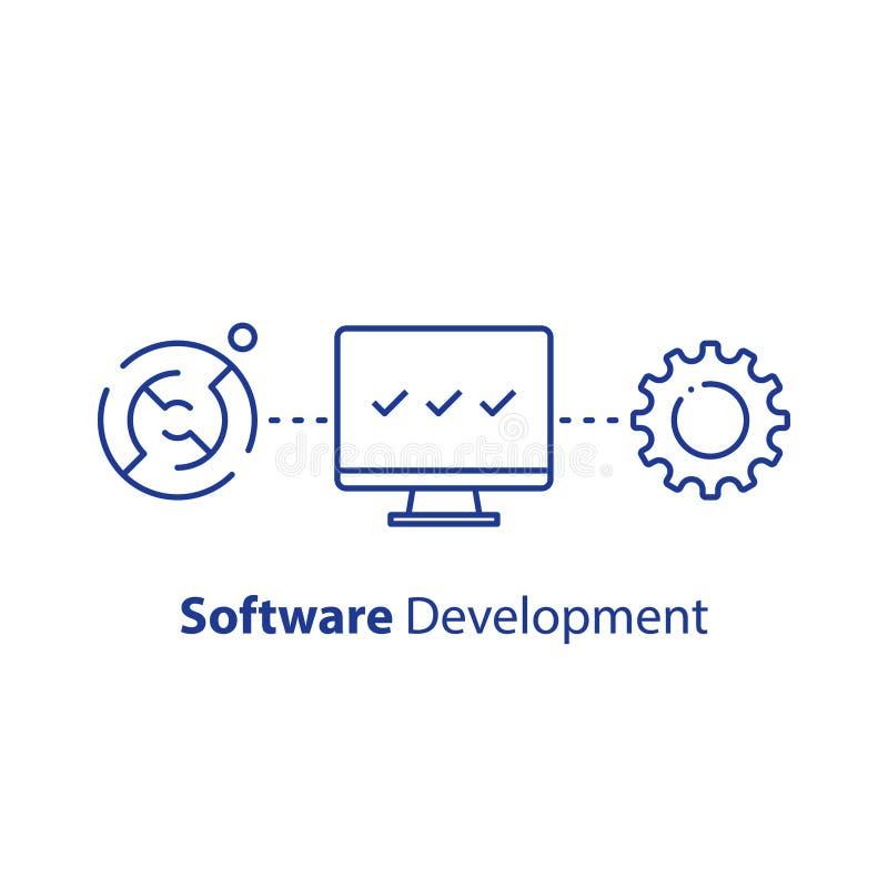 Tecnologia de criptografia, elevação da segurança do sistema, programação de software, aprendizagem de máquina, suporte técnico e ilustração do vetor