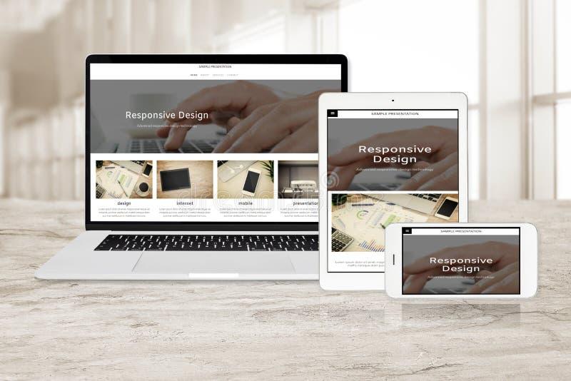 Tecnologia de design web responsiva da amostra imagem de stock