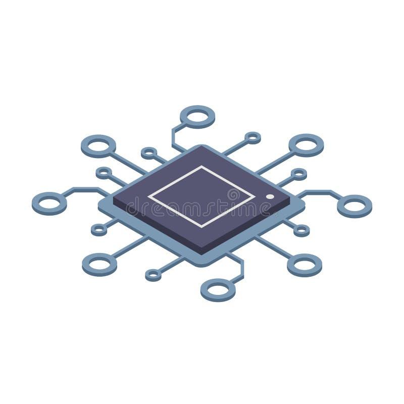 Tecnologia de Didgital Conceito do processador do computador ou do servidor Grande poder computacional Ilustração isométrica do v ilustração royalty free