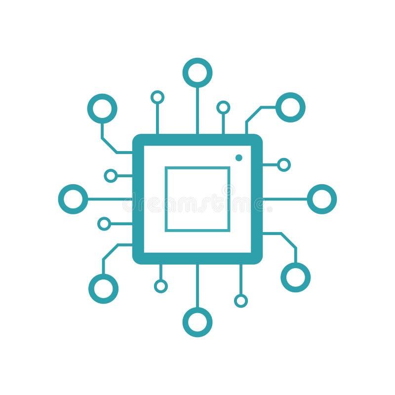 Tecnologia de Didgital Conceito do processador do computador ou do servidor Grande poder computacional Ilustração lisa do vetor i ilustração stock