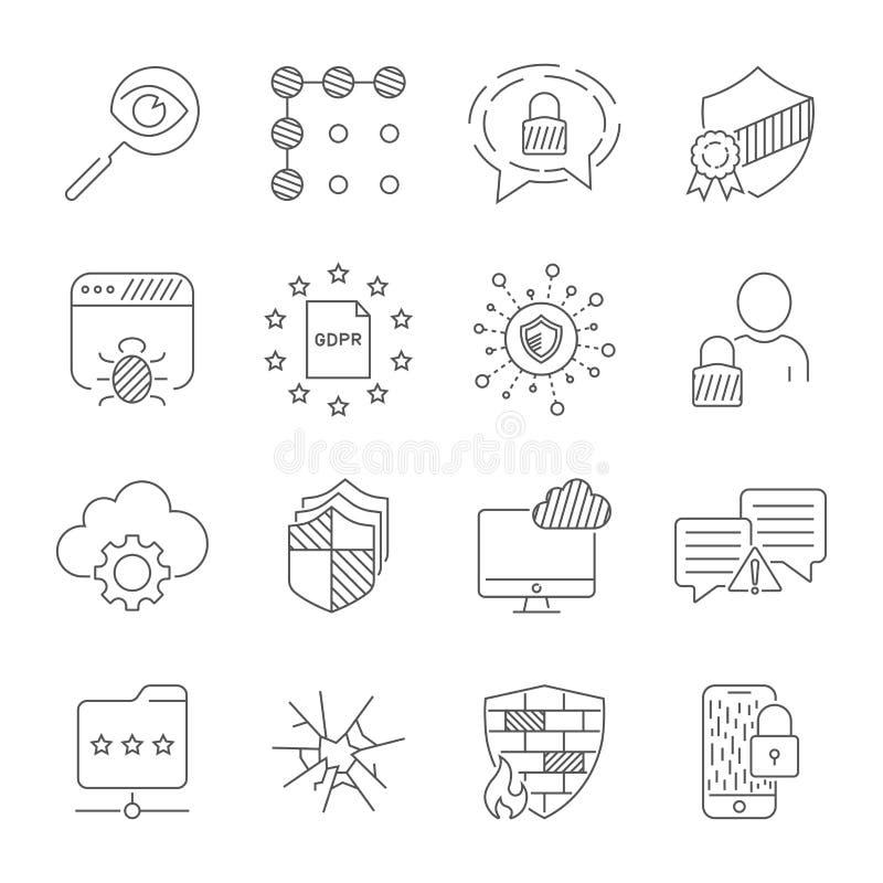 Tecnologia de Digitas, segurança, proteção, inovação no ?yberspace Curso edit?vel ilustração stock