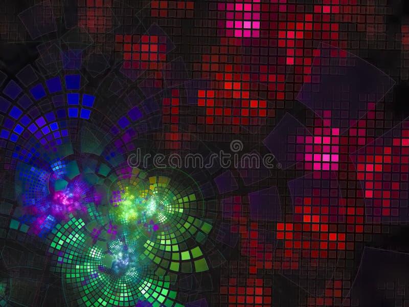 A tecnologia de incandescência brilhante do fluxo digital abstrato do Fractal torna digital, disco, negócio, propaganda, ilustração do vetor