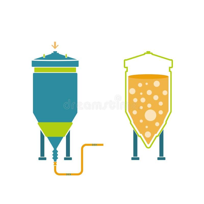 Tecnologia de Infographics da produção da cerveja ilustração royalty free