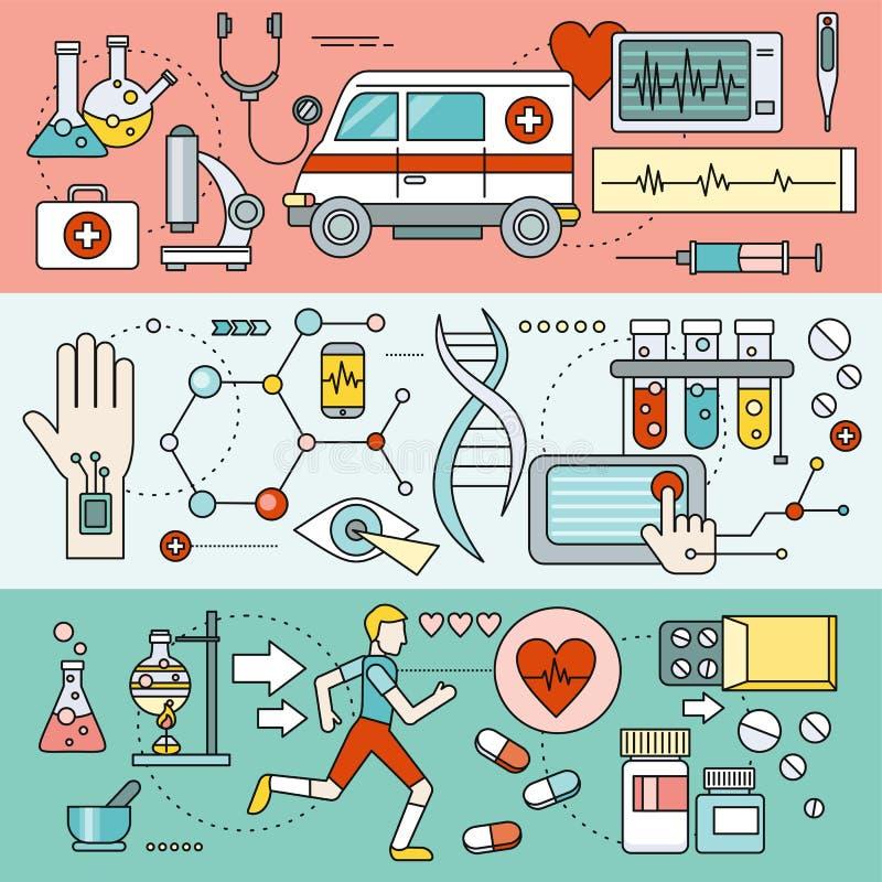 Tecnologia de sistema para a pesquisa da saúde ilustração royalty free