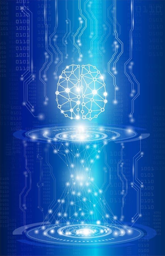 Tecnologia del fondo e concetto astratti di scienza in blu illustrazione di stock