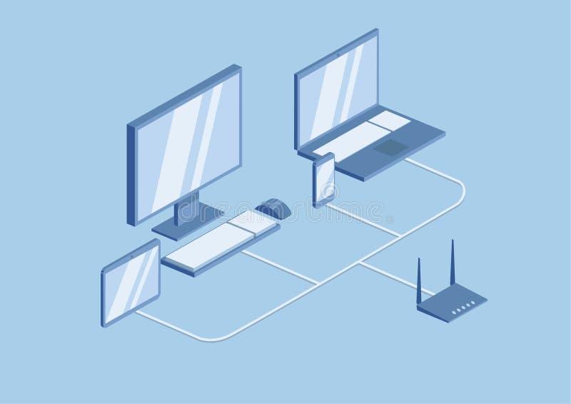 Tecnologia del router di Wifi, la rete locale Gli aggeggi del desktop, del computer portatile e del cellulare sono collegati alla royalty illustrazione gratis