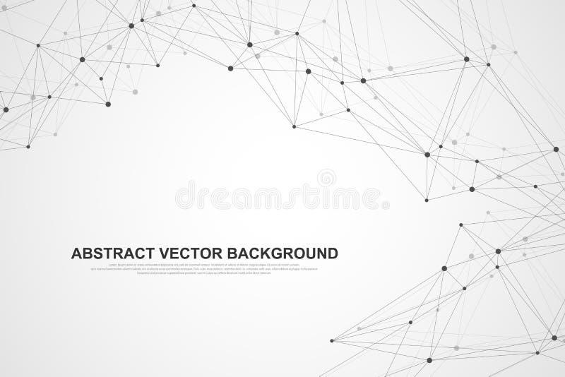 Tecnologia dell'estratto di concetto del collegamento della rete Collegamenti di rete globale con i punti e le linee Grandi dati illustrazione di stock