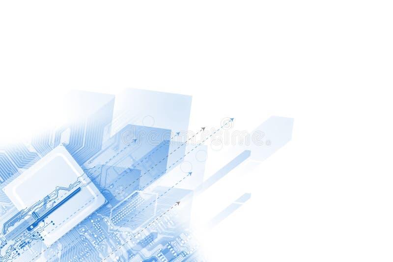 Tecnologia dell'estratto futuristica Circuito di alta tecnologia Alte tecnologie informatiche dell'illustrazione con il fondo blu illustrazione vettoriale