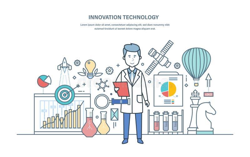 Tecnologia dell'innovazione Introduzione delle soluzioni di ricerca, impianti scientifici, pensiero creativo illustrazione vettoriale