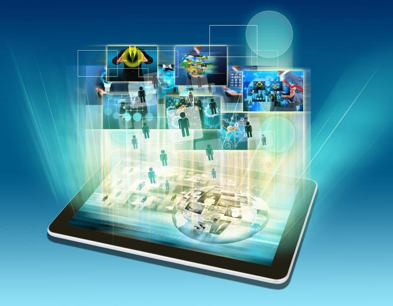 Tecnologia della comunicazione moderna per collegamento immagini stock