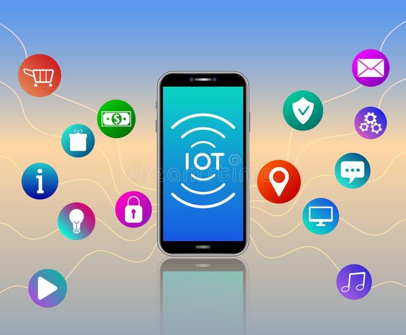 Tecnologia della comunicazione sociale senza fili della rete di media Internet delle cose Concetto di IOT illustrazione vettoriale