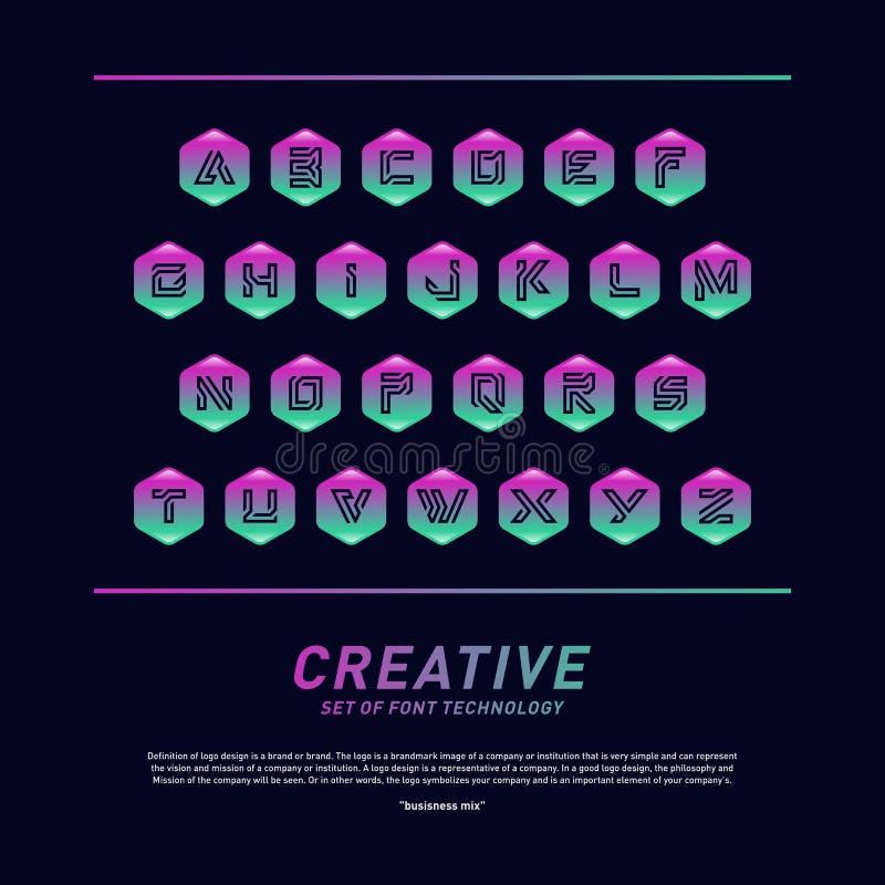 Tecnologia della fonte moderna con progettazione di alfabeto e di esagono Vettore creativo di logo di tecnologia della fonte Simb illustrazione vettoriale