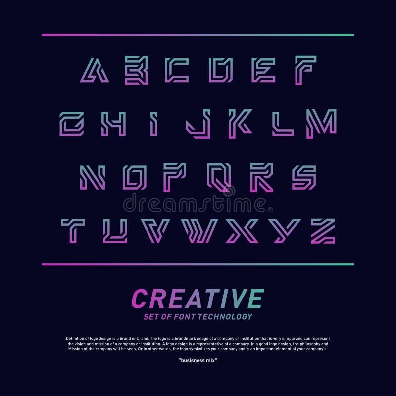 Tecnologia della fonte moderna e progettazione di alfabeto Vettore creativo di logo di tecnologia della fonte di progettazione Si illustrazione di stock