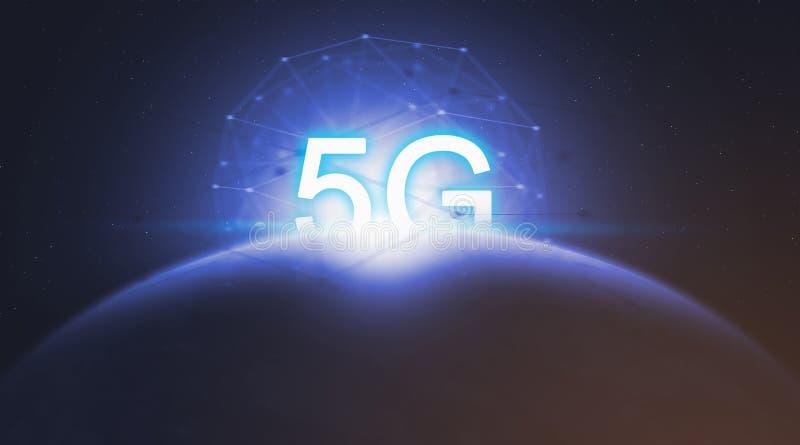 Tecnologia della rete di concetto 5G, sistemi senza fili e Internet della cosa illustrazione vettoriale