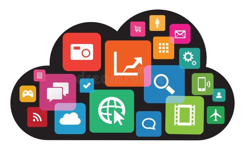 Tecnologia di App della nuvola illustrazione vettoriale