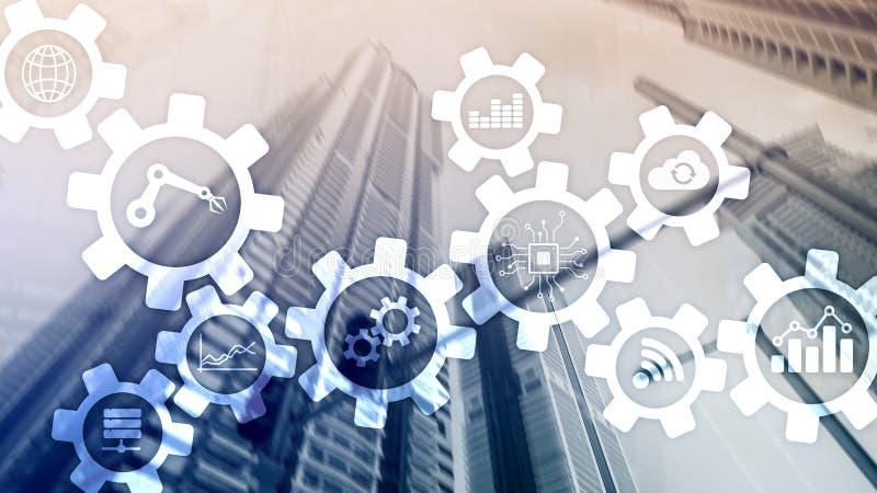 Tecnologia di automazione e concetto astuto di industria su fondo astratto vago Ingranaggi ed icone immagini stock libere da diritti