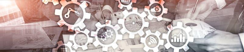 Tecnologia di automazione e concetto astuto di industria su fondo astratto vago Ingranaggi ed icone Insegna di intestazione del s immagini stock