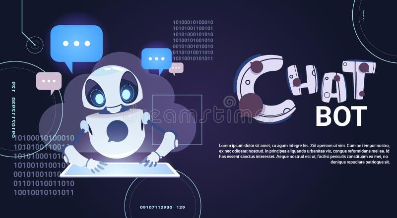 Tecnologia di Chatbot, schiamazzo robot facendo uso di assistenza virtuale della compressa di Digital ed insegna del modello di c royalty illustrazione gratis