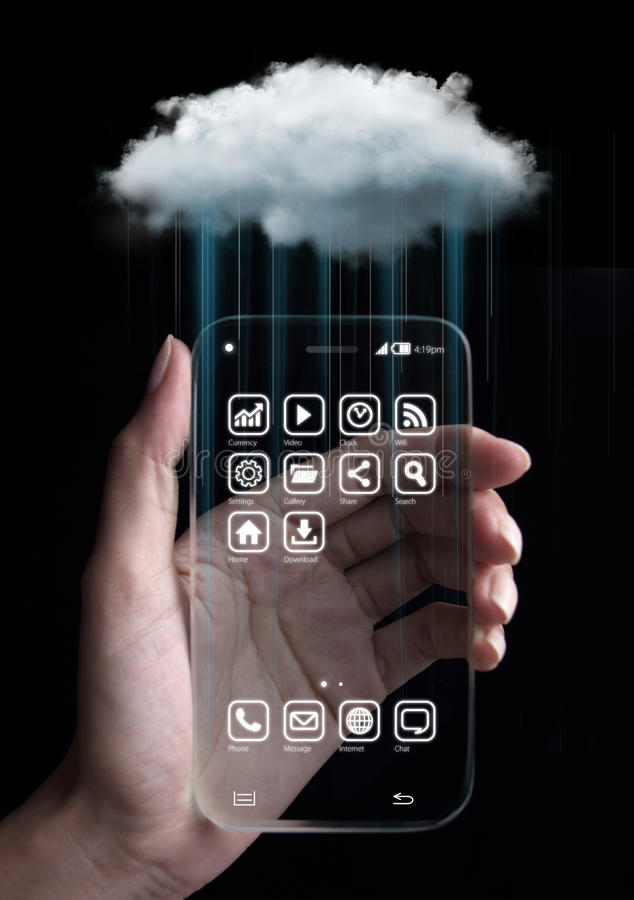 Tecnologia di computazione della nuvola con lo smartphone fotografie stock