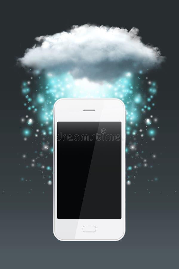 Tecnologia di computazione della nuvola con lo smartphone immagini stock libere da diritti