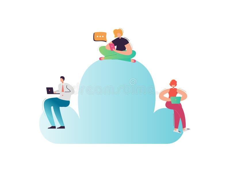 Tecnologia di computazione della nuvola Personaggi dei cartoni animati con il computer portatile ed i dispositivi mobili facendo  illustrazione vettoriale