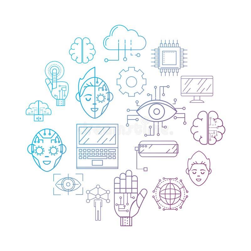 Tecnologia di futures con il fondo del collegamento del Cyberspace illustrazione di stock