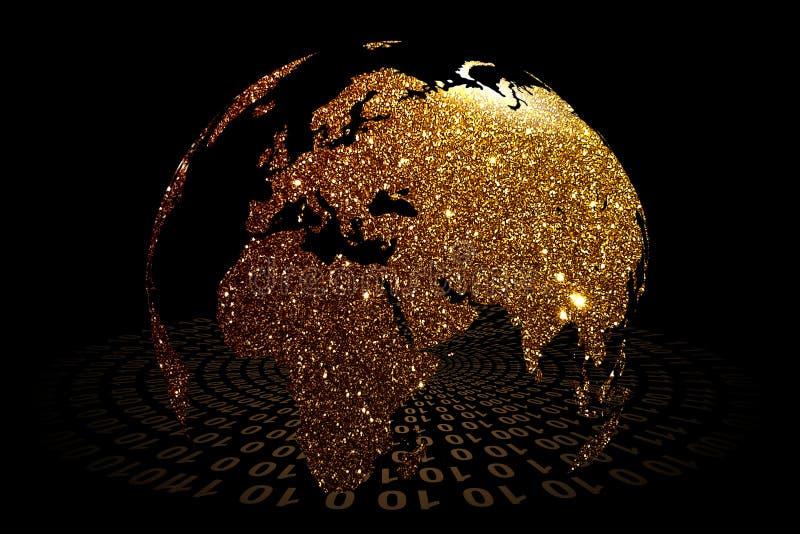 Tecnologia di rete del mondo Comunicazione di tecnologia illustrazione di stock
