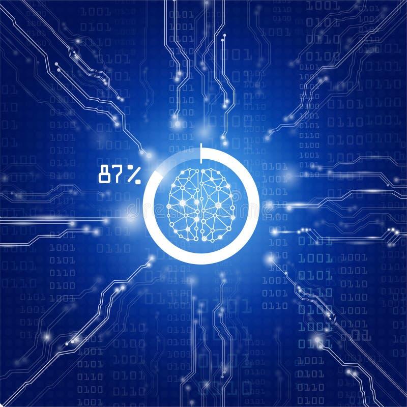 Tecnologia di scienza del fondo, genio digitale del cervello con il chip di unità di elaborazione di globale a futuro royalty illustrazione gratis