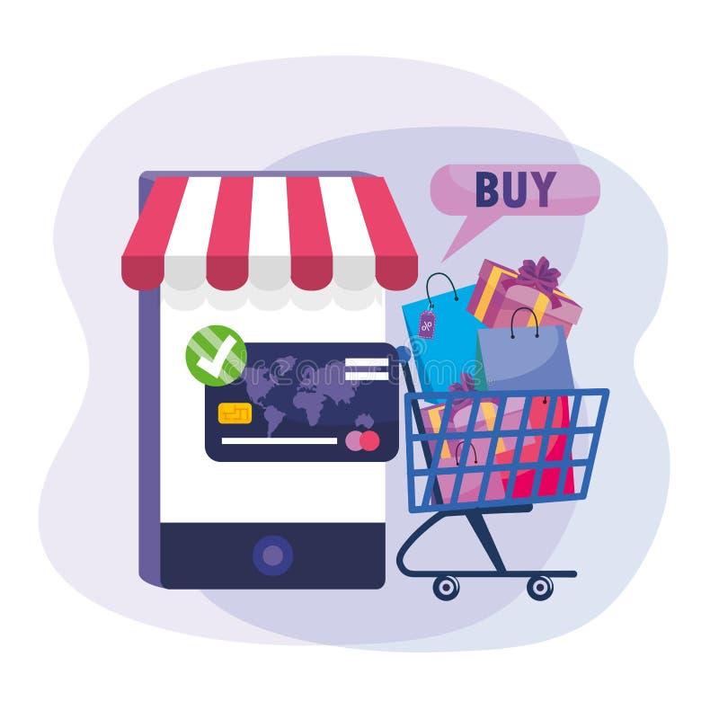Tecnologia di Smartphone con il carrello online e la carta di credito royalty illustrazione gratis