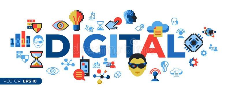 Tecnologia digital da arte do pixel do vetor de Digitas ilustração stock