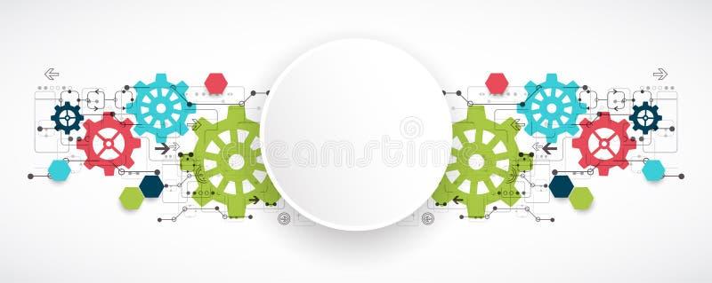 Tecnologia digital da olá!-tecnologia da roda denteada e fundo da engenharia ilustração stock
