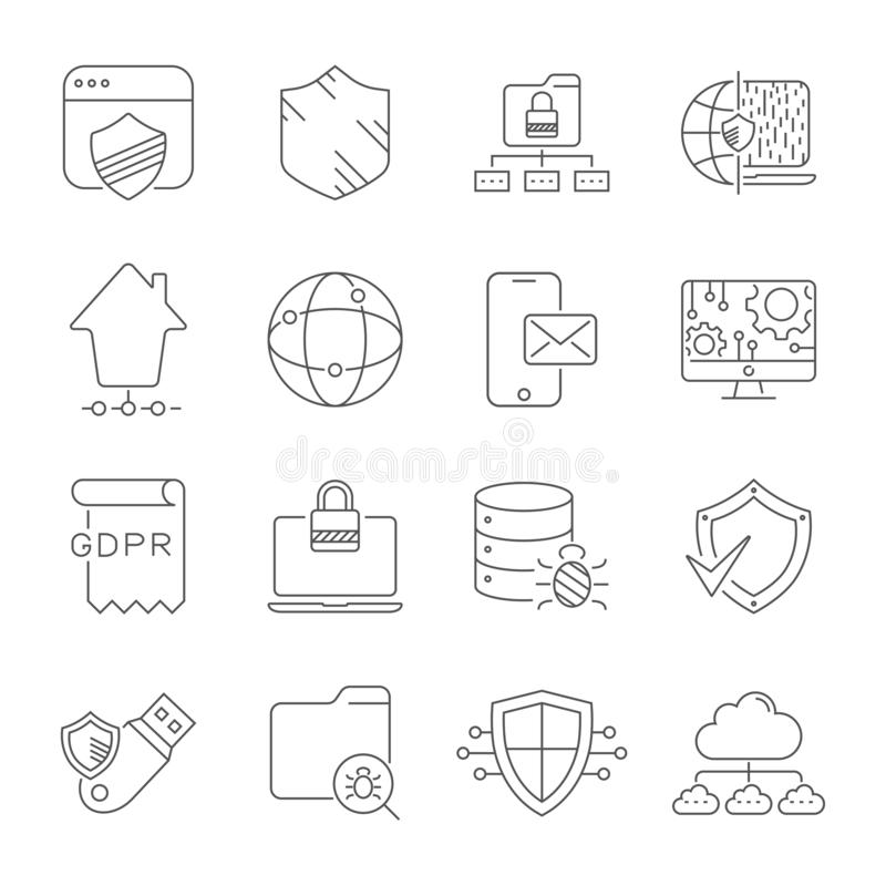 Tecnologia digitale e rete Sicurezza, protezione, innovazione in Cyberspace Codice a barre editabile ENV 10 illustrazione di stock