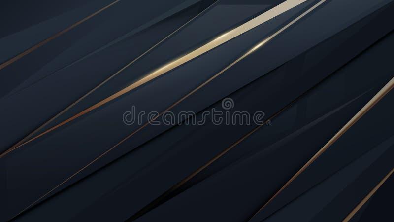 Tecnologia digitale futuristica geometrica dell'estratto Fondo di lusso dell'oro e blu scuro illustrazione vettoriale