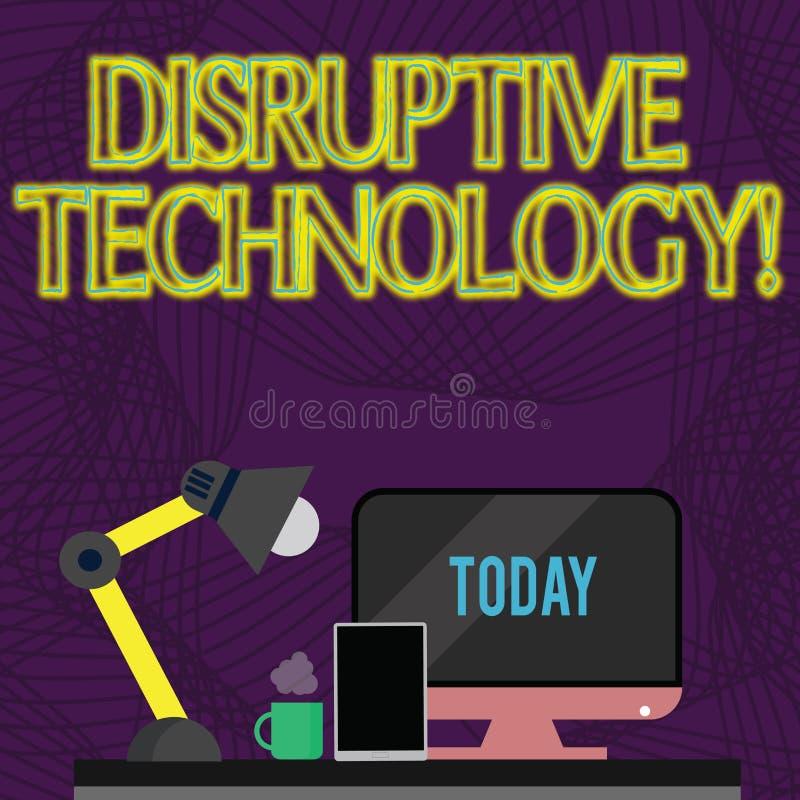 Tecnologia disruptiva do texto da escrita Significado um do conceito de que desloca um arranjo estabelecido da tecnologia ilustração do vetor