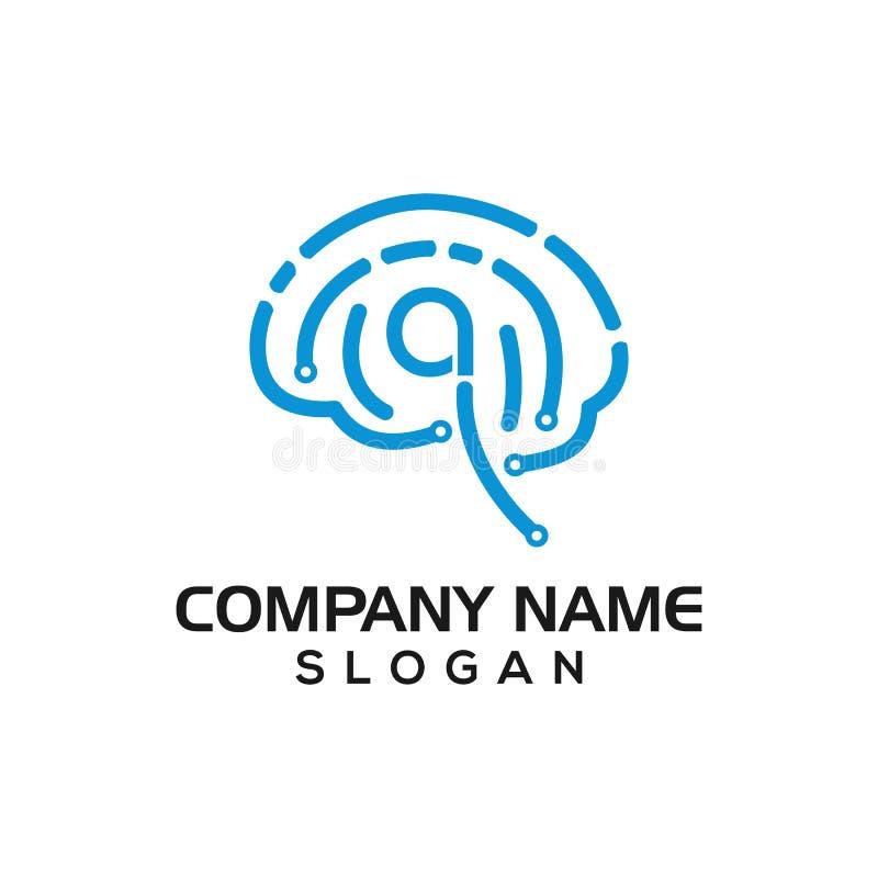 Tecnologia do cérebro, um trajeto cérebro-dado forma do PWB como um molde do logotipo para os vários negócios da tecnologia que c ilustração royalty free
