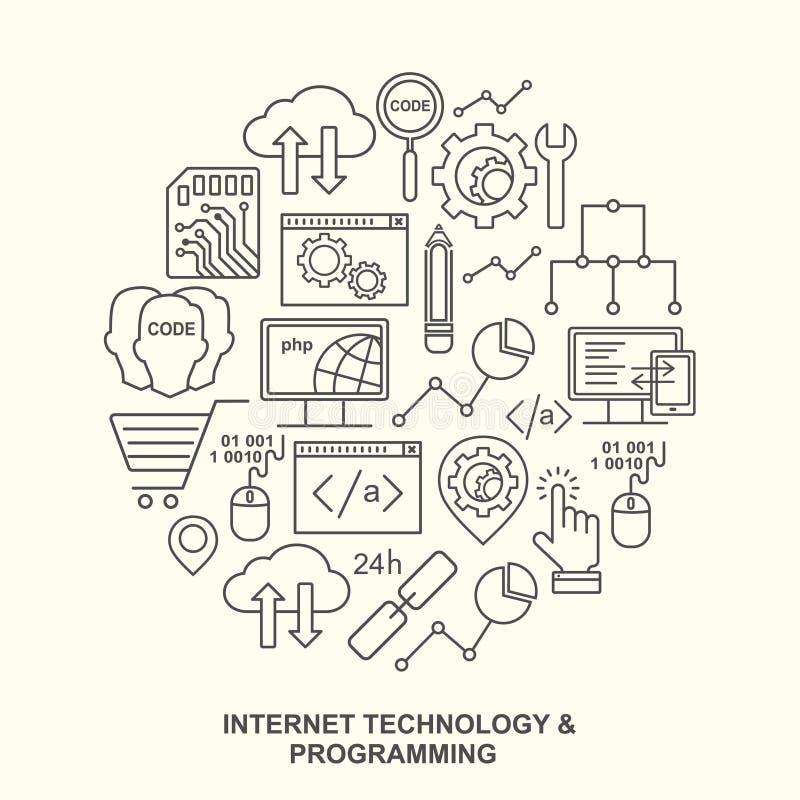 Tecnologia do Internet e teste padrão de programação da forma redonda com ícones lineares ilustração do vetor