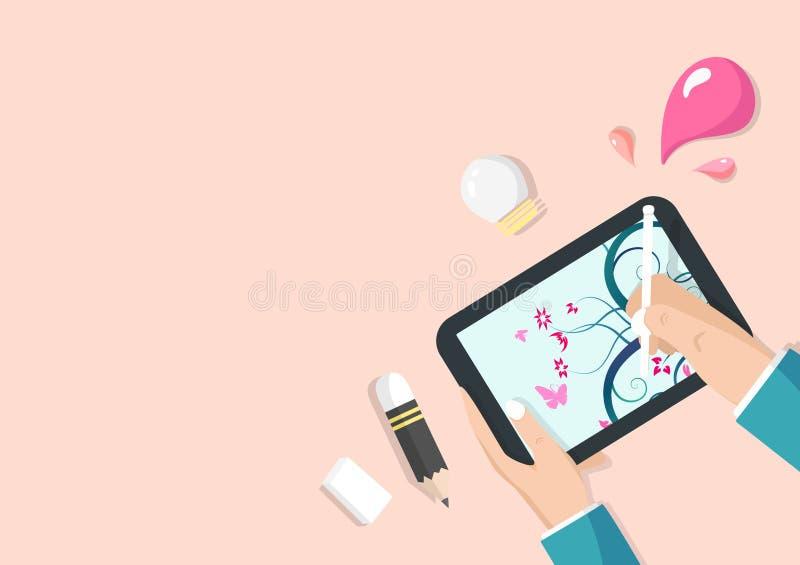 Tecnologia do negócio da aplicação da tabuleta, conceito de trabalho de tiragem da arte, vetor liso da ideia do projeto ilustração stock