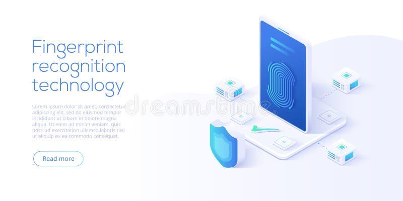 Tecnologia do reconhecimento da impressão digital no illustrat isométrico do vetor ilustração do vetor