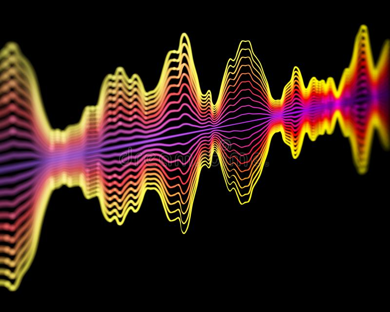 Tecnologia do reconhecimento de voz ou conceito da gravação sonora: ondas sadias multicoloridos ilustração stock
