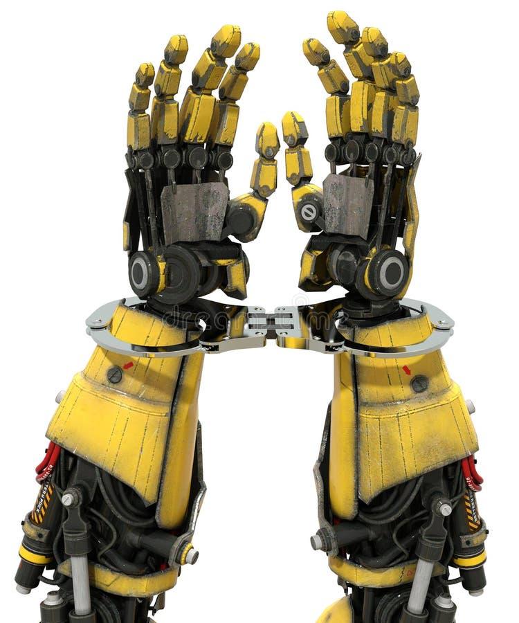 Tecnologia do robô do AI do crime do Cyber algemada ilustração do vetor