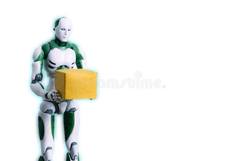 A tecnologia do robô inteligente guarda trabalhos da caixa em vez dos seres humanos fotografia de stock royalty free