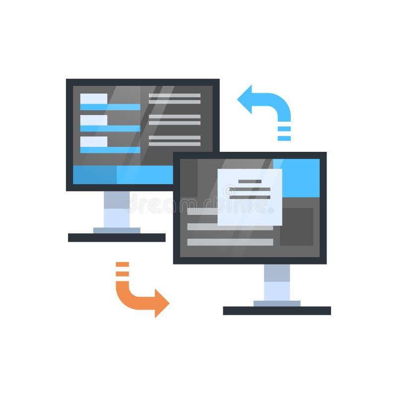 Tecnologia do sincronizar do acesso de base de dados da conexão do computador do ícone da sincronização dos dados ilustração royalty free