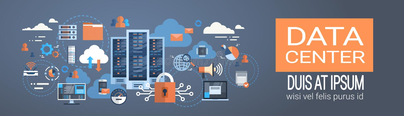 Tecnologia do sincronizar do base de dados de servidor do acolhimento da conexão do computador da nuvem do centro de dados ilustração royalty free