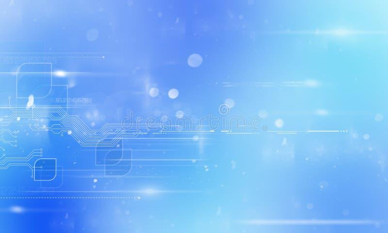 Tecnologia do sumário futurista Placa de circuito da alta tecnologia Informática alta da ilustração com escuro - fundo azul da co fotografia de stock